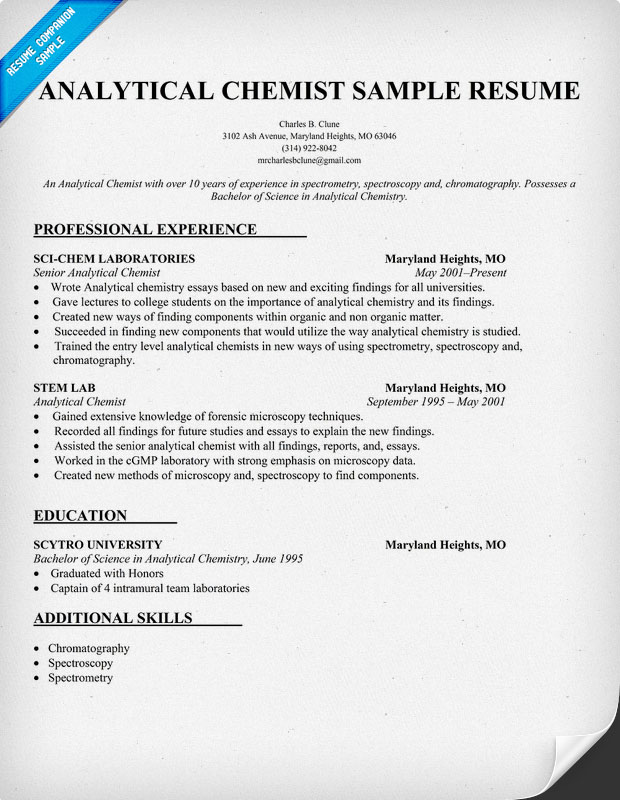 Sample Cover Letter Water Quality Resume Sample