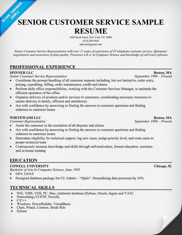 Manager Client Services Resume  Customer Services Resume