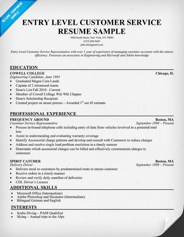 Resume example for customer service