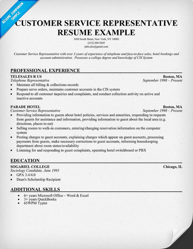 ... Resume Example Customer Service Representative Resume Example