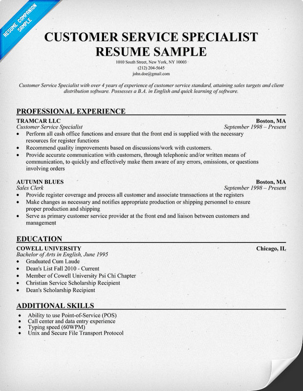 Resume template for it specialist 100 original for Sample resume for sales associate and customer service