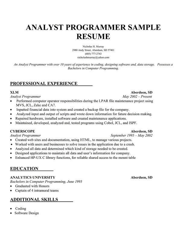 Analyst Programmer Resume Sample