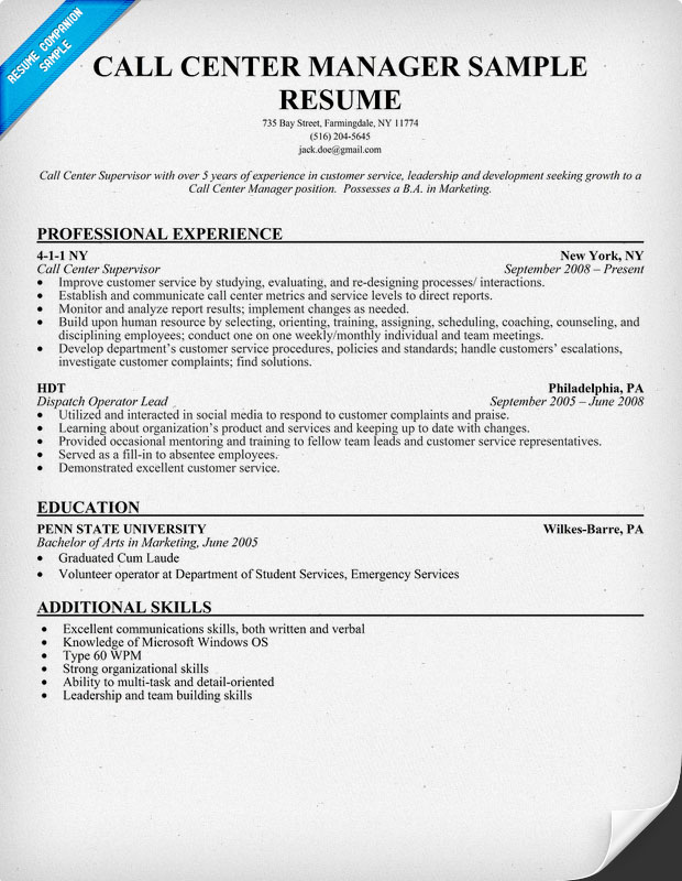 Manager Resume Example : Call Center Manager Resume Sample, Resume ...