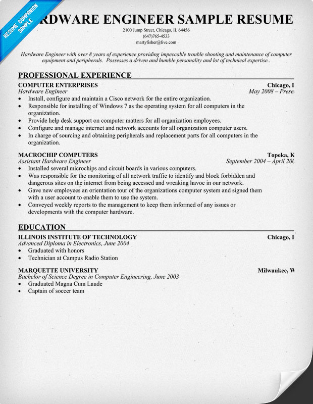resume sample for computer hardware engineer south