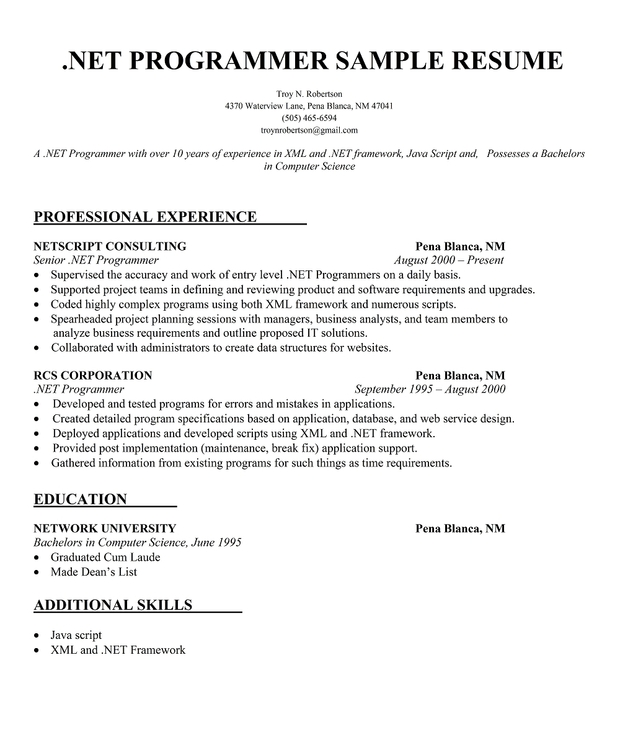 computer science education resume resume format for computer