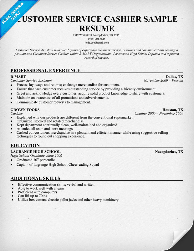 customer service cashier resume exles
