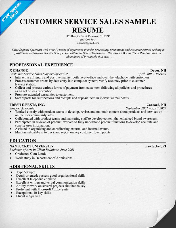 Sample resume templates customer service | Platinum Class ...