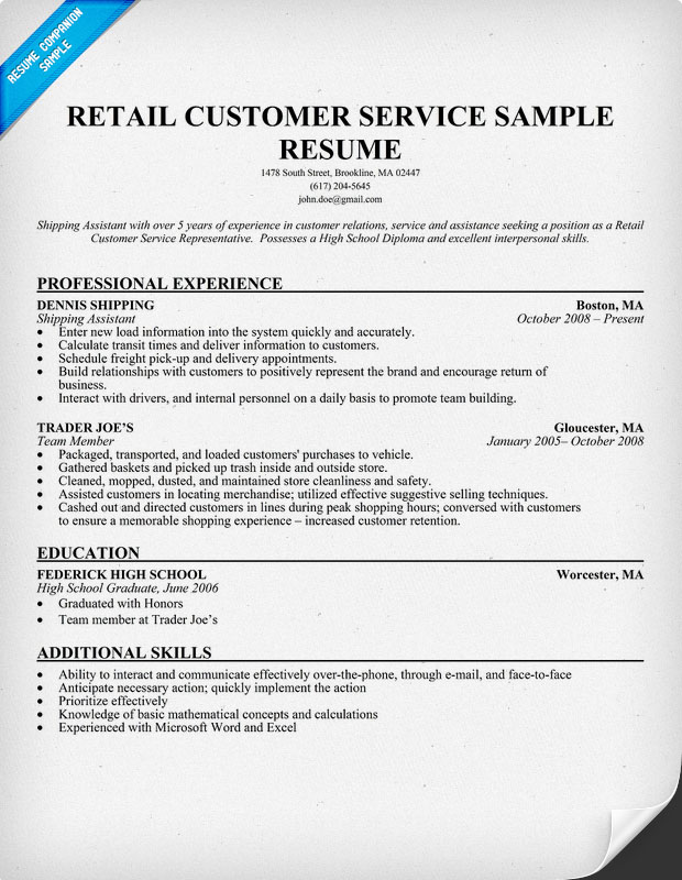 Examples of a customer service resume