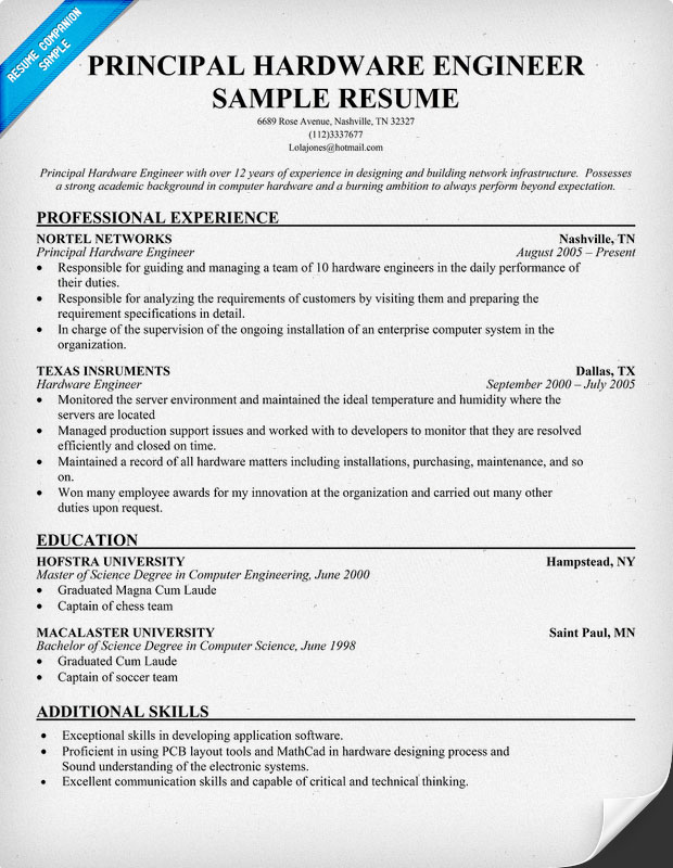 resume format for hardware and networking engineer resume template