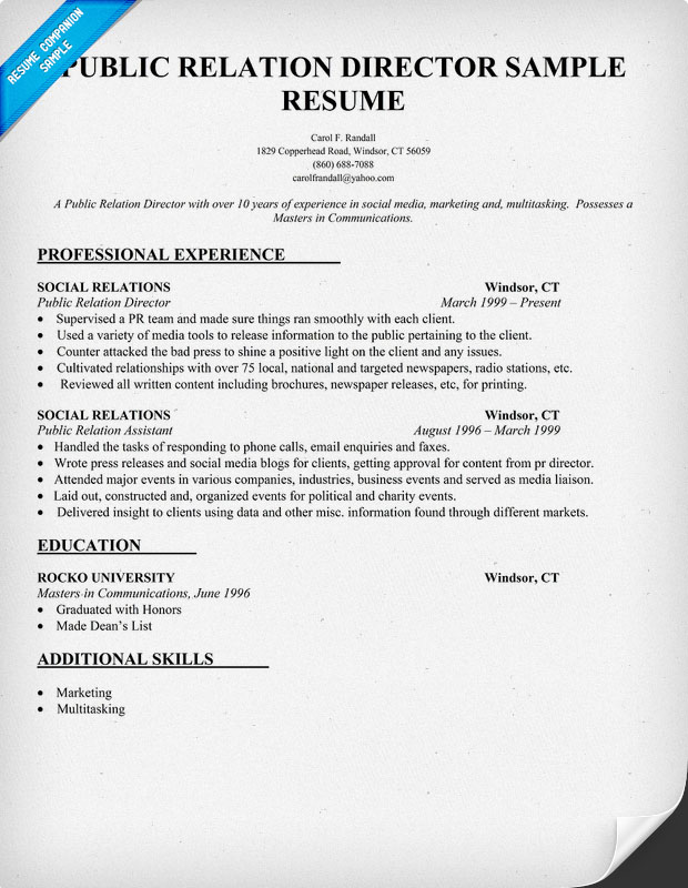 public relations resume samples 29052017 - Sample Public Relations Manager Resume
