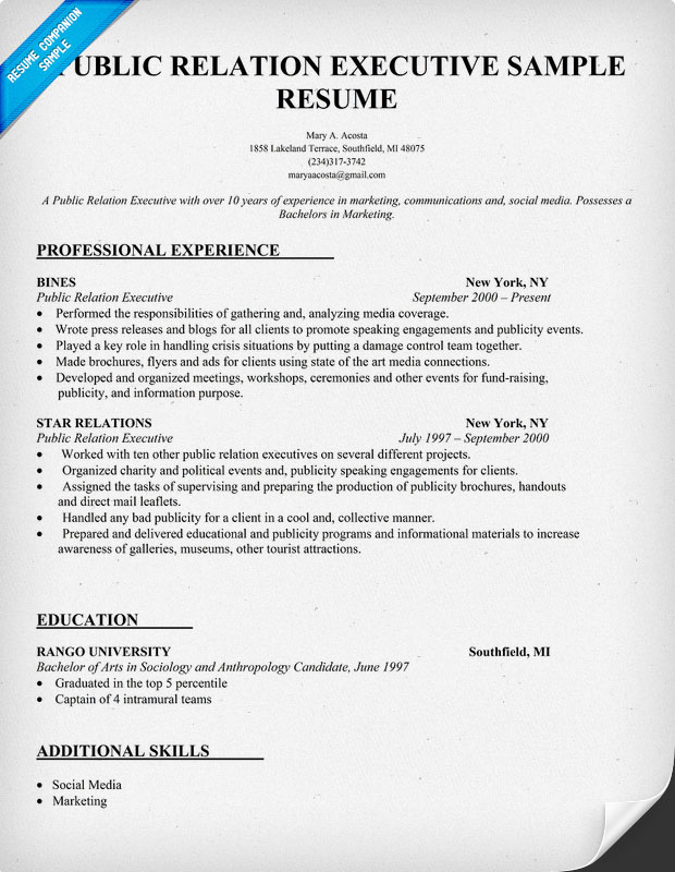 Public Relations Sample Resume 28.05.2017