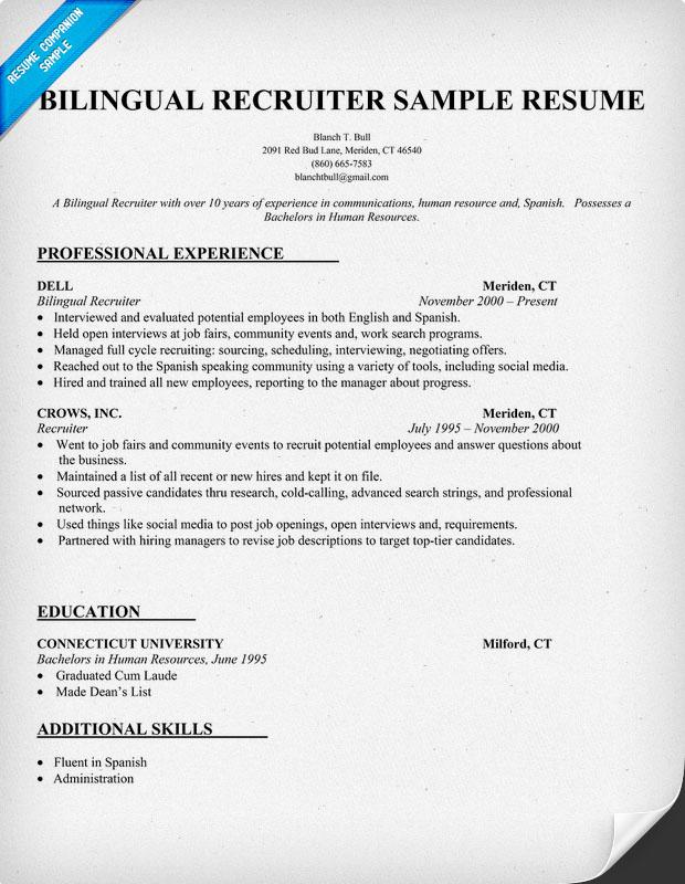 proficient in spanish resume - Spanish Resume Examples