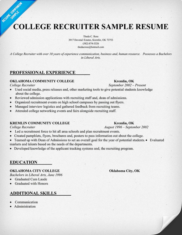 recruiting cover letter sample - Sample Resume Recruiter