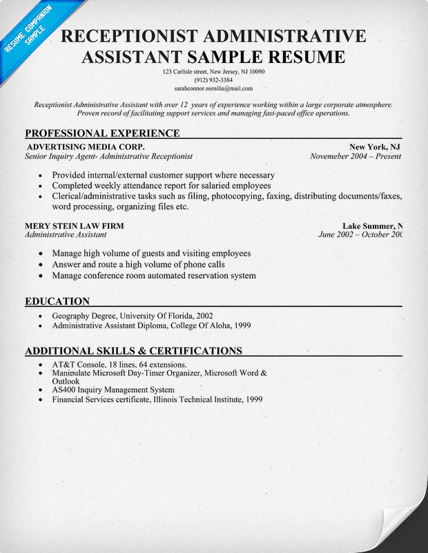 Receptionist Administrative Assistant Resume Sample