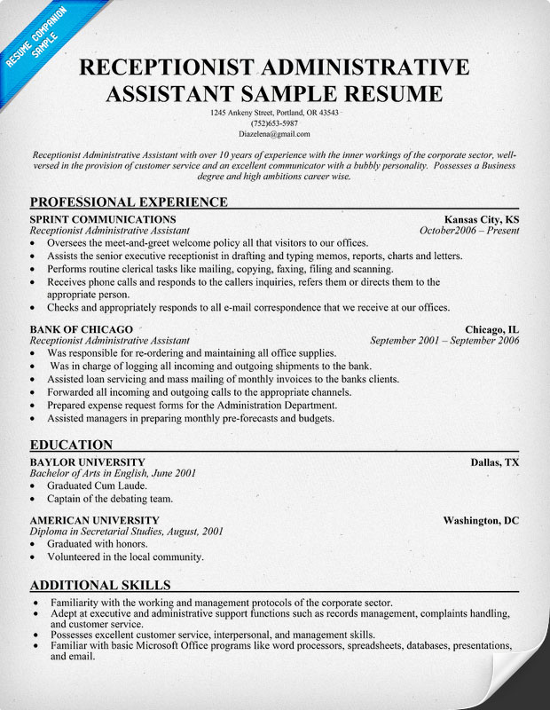 sample of receptionist resume converza co