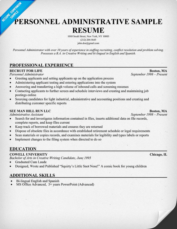 Personnel Administrative Resume Sample