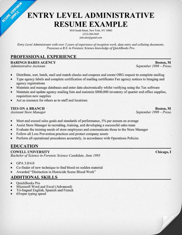 Entry Level Administrator Resume Sample