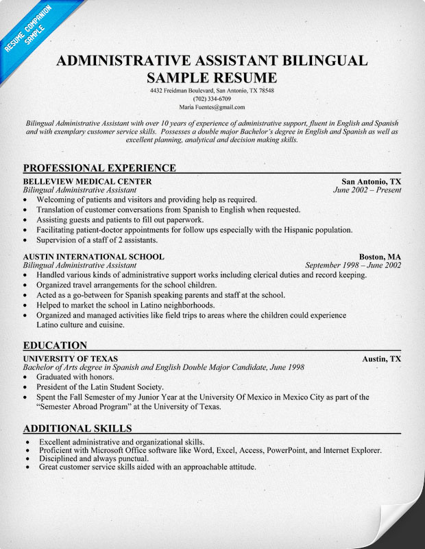 Assistant Resume Bilingual Resume Sample Two Customer Service Resume ...