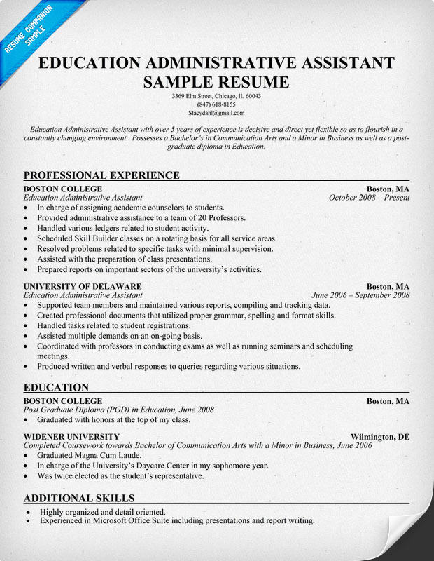 Chronological Resume Sample Legal Administrative Assistant  Admin Assistant Resume