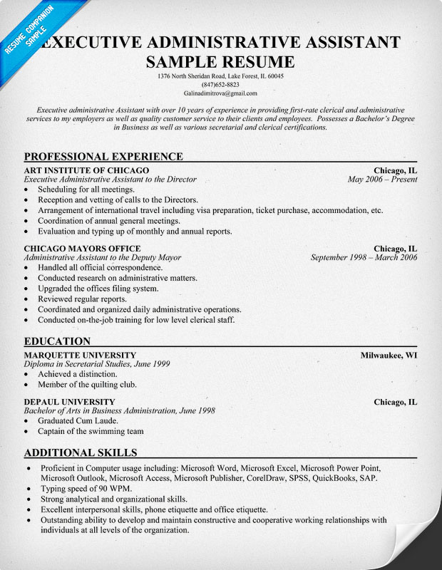 Executive Assistant Resumes Examples] Executive Assistant Resume