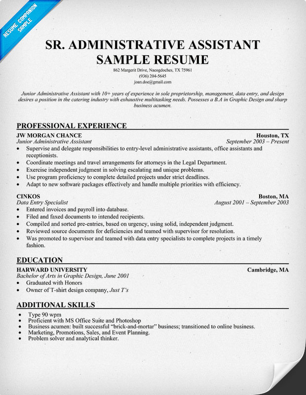 Senior Administrative Assistant Resume Sample