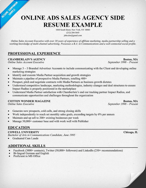 Online Advertising Sales Resume Example