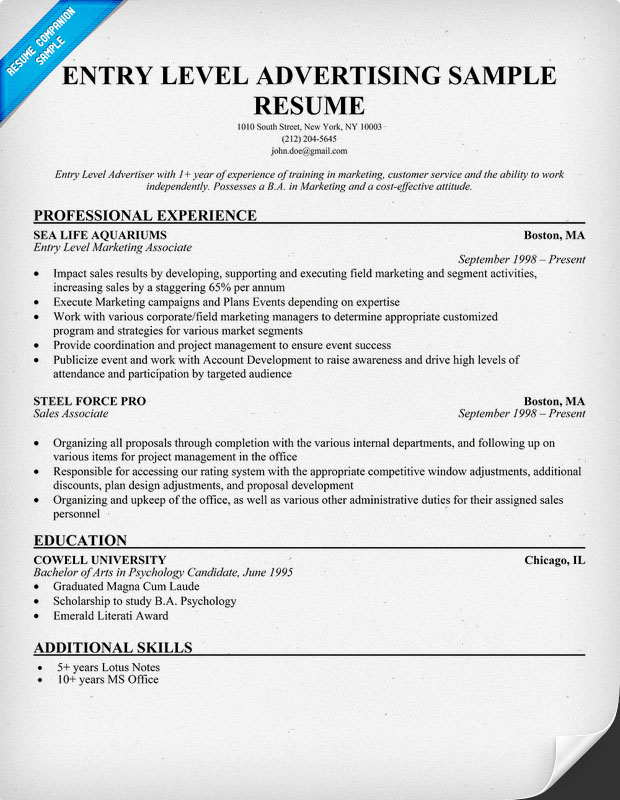 Resume Examples Entry Level Entry Level Marketing And Sales  Sample Resume Entry Level