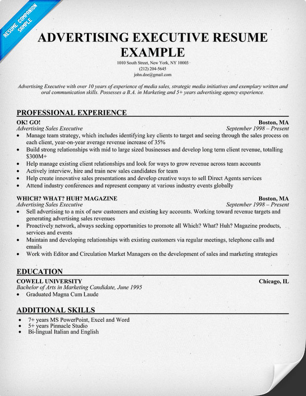 other popular resume exles in advertising resume