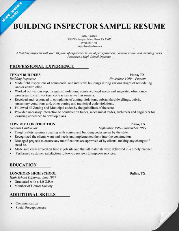 resume templates for building inspector