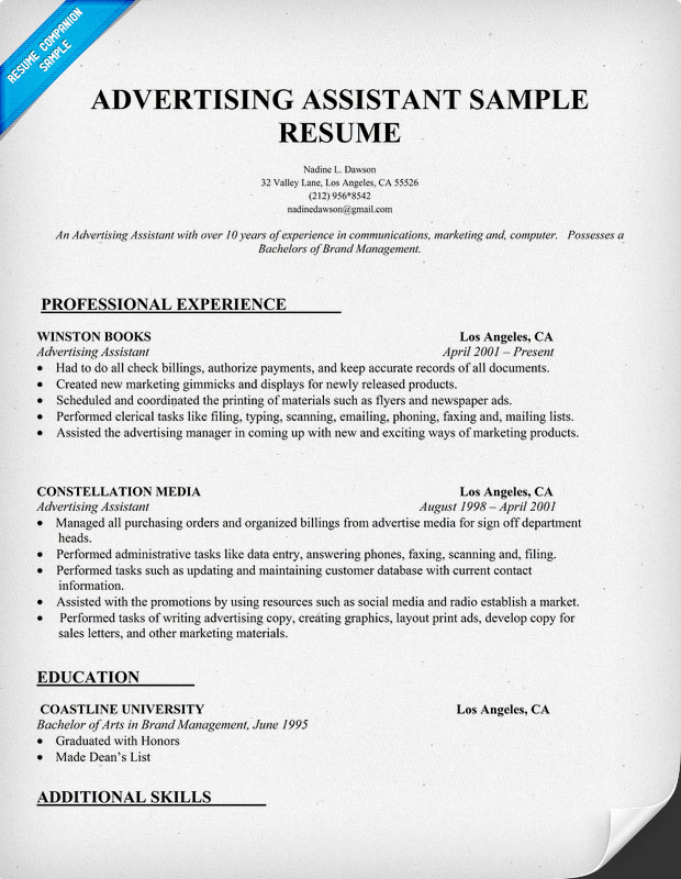 Advertising Resume Examples
