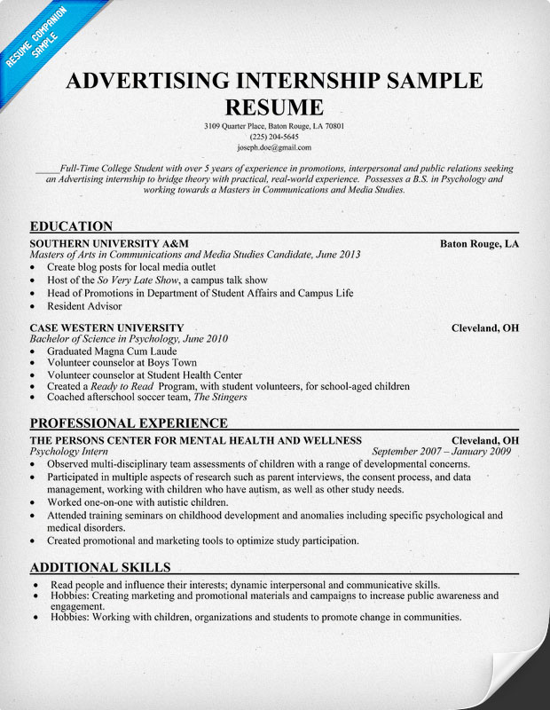 sample of internship resume - Resume For Internship Example