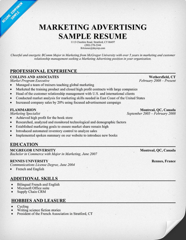 Advertising resume