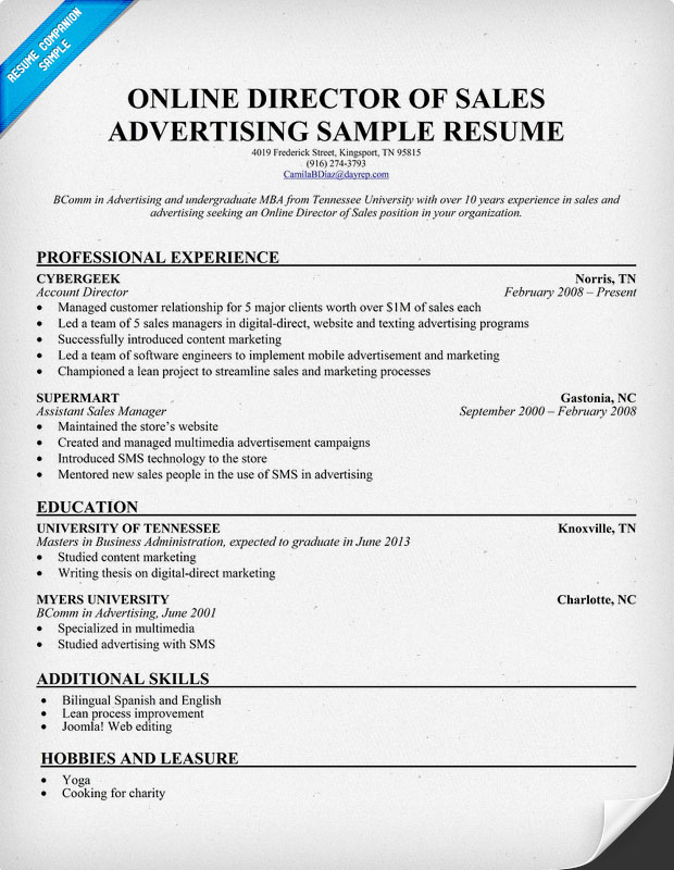 Online sales representative resume sample