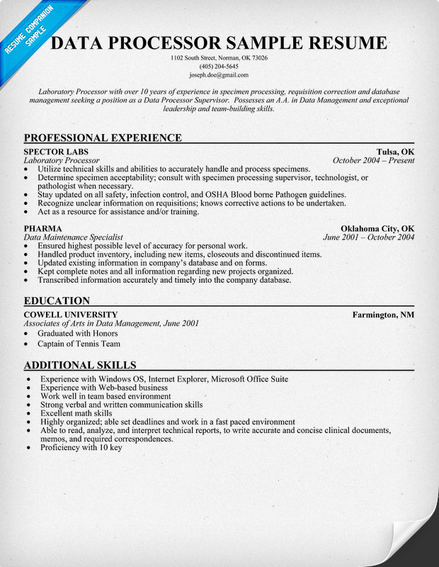 Geophysicist Resume Sample Data Processor Sample Resume Curriculum