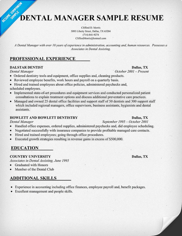 Dental Manager Resume Sample