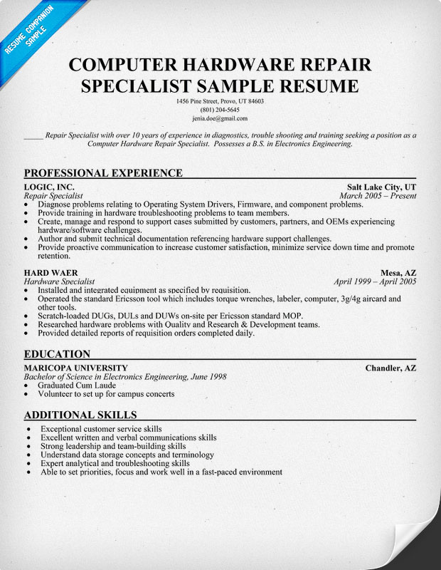 computer technician resume hardware technician jobs - Pc Technician Resume Sample