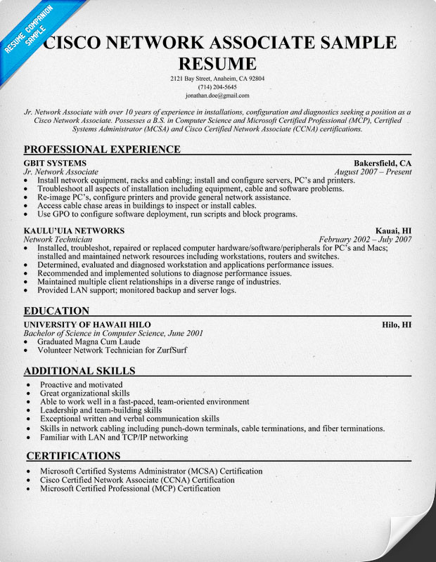 resume format for hardware and networking doc