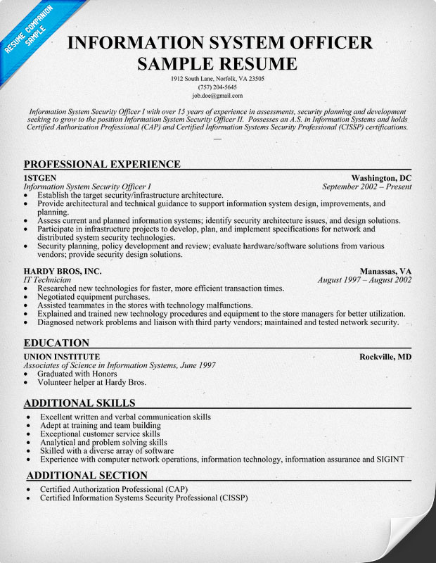Information System Officer Resume Sample