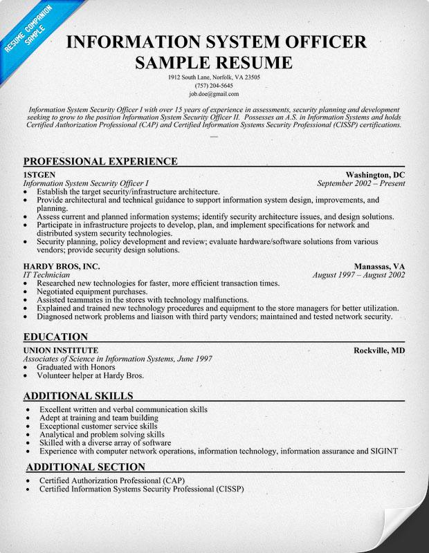 Information Technology Resume Sample Companion