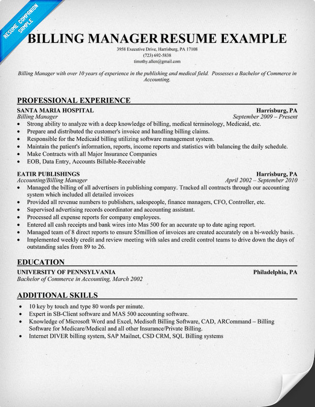 billing manager resume example Resume template medical billing ...