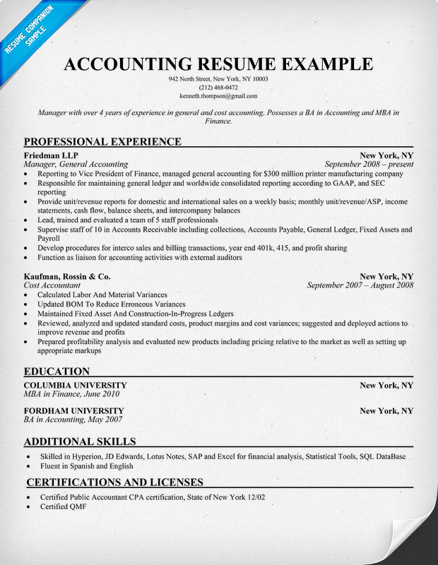 previousnext previous image next image sample resume accounting