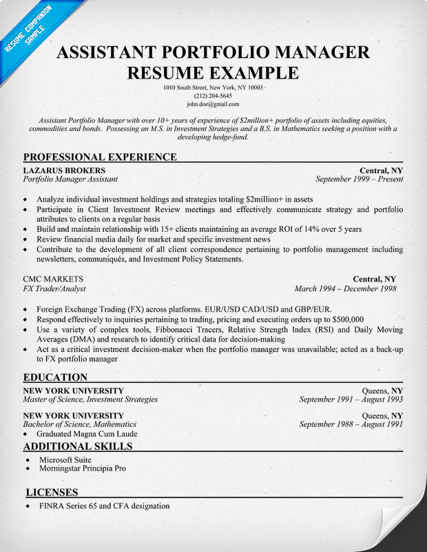 Resume Sample 15 Portfolio Manager Resume Career Resumes