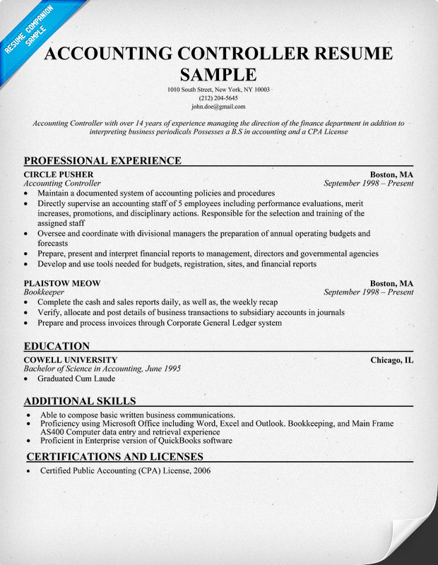 sample financial controller resume