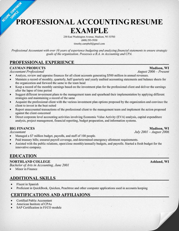 accounting professional resume examples resume example accounting samples professional senior latest format