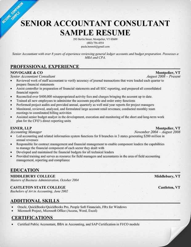resume format accounting resume samples