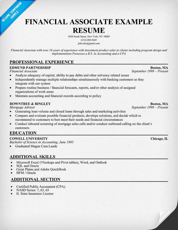 Financial Associate Resume Example