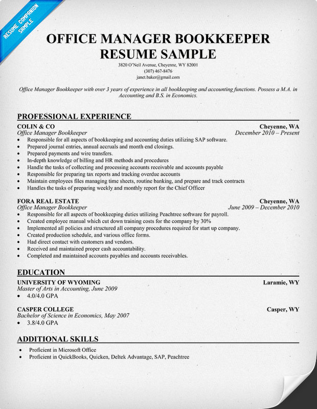 Office Manager Resume Best Samples  Office Manager Sample Resume