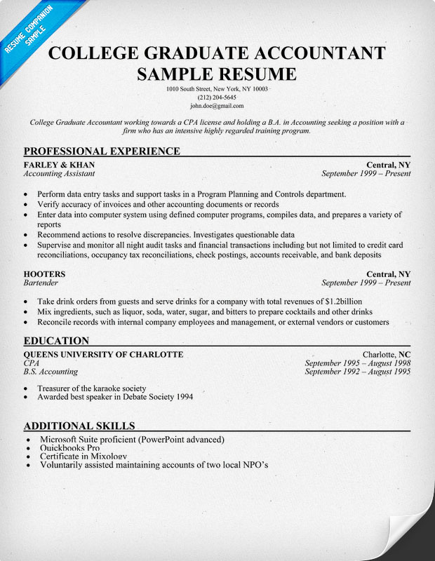 College Graduate Accountant Resume Samples