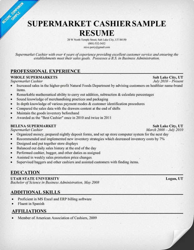 Sample Resume Of Cashier