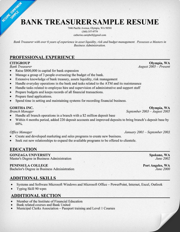 treasurer description treasurer description for